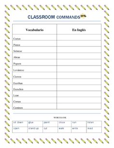 Printables High School Spanish Worksheets pinterest the worlds catalog of ideas this worksheet set is extremely useful to teach students in middle school and high classroom commands vocabulary list with 12 commands