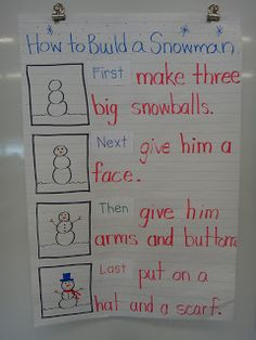 first, next, then, last  Procedural writing - How to Build a Snowman