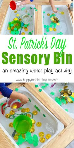St Patrick's Day Sensory Activity - HAPPY TODDLER PLAYTIME Check out this St Patrick's Day sensory activity that your toddler or preschooler will absolutely love! It's also a great way to learn and talk about colours and shapes! Water Play Activities, Sensory Activities Toddlers, Motor Skills Activities, Games For Toddlers, Montessori Activities, Spring Activities, Learning Activities, Preschool Learning, Indoor Activities