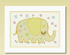 Elephant Flowers    A set of 2 Cross Stitch by LucyXStitches, $4.00