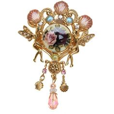 KIRKS FOLLY FAIRIES ROMANCE PIN SCALLOP SHELLS AND ROSES goldtone |... ❤ liked on Polyvore featuring jewelry, brooches, seashell jewelry, pin brooch, rose gold tone jewelry, sea shell jewelry and pin jewelry