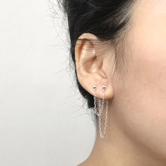 53ad94acb Double Double Earring made of 925 Sterling silver for those who have two  piercings in one