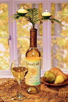 Tropical Fern Wine Bottle Candelabra Candle Holder or Bar Accessory Capiz Shell #DFA2217