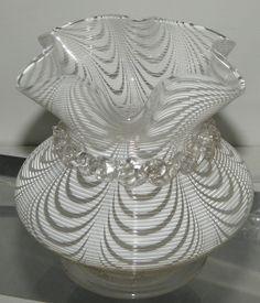 Unusual Antique Nailsea Glass Threaded Ruffle Vase