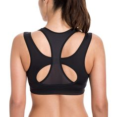 38274e7f4 Women s High Impact Support Wirefree Workout Racerback Sports Bra Top -  Black - CO12HDH12JH