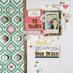 Love & Grace - Scrapbook.com - Scrapping an anniversary? Gold letters like these from Chic Tags are perfect for titles. A doily is a lovely addition too.