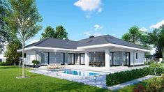 Modern Bungalow Exterior, Classic House Exterior, Modern Bungalow House, Small House Exteriors, Bungalow House Plans, Dream House Exterior, Modern House Plans, House Plans Mansion, Pool House Plans