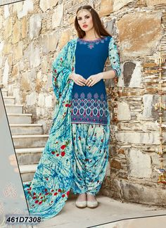 Fashionnow Blue Cotton Patiala Salwar Kameez If you're whatever including all of us, you will Pakistani Lawn Suits, Punjabi Salwar Suits, Punjabi Dress, Patiala Salwar, Pakistani Outfits, Indian Suits, Indian Wear, Anarkali, Latest Designer Sarees