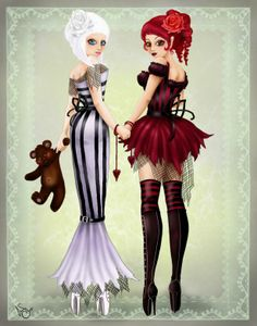 SciFi and Fantasy Art snow white and rose red by Eos Sparks