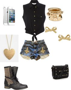 A fashion look from April 2013 featuring tie front shirt, short shorts and lace-up booties. Browse and shop related looks. Teen Fashion Outfits, Cute Fashion, Bad Girl Look, Hair Beauty, My Style, Polyvore, How To Wear, Clothes, Shopping