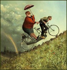 Legendary Marius van Dokkum, Dutch artist and Illustrator Marius van Dokkums picture. - Artistic and Nice Marius van Dokkum, D. Umbrella Art, Bicycle Art, Dutch Painters, Dutch Artists, Art Plastique, Funny Art, Figure Painting, Art History, Illustrators