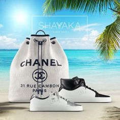 Chanel Backpack in White Raffia and Blue Calfskin with Silver Hardware | 39 x 33 x 15 cm | Spring-Summer 2017 Pre-Collection | Available Now  Chanel Leather Sneakers | Spring-Summer 2017 Pre-Collection | Available Now  For purchase inquiries, please contact sales@shayyaka.com or +961 71 594 777 (SMS, WhatsApp, or iMessage) or Direct Message on Instagram (@Shayyaka)  Guaranteed 100% Authentic | Worldwide Shipping | Bank Transfer or Credit Card