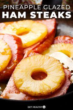 Cooking Ham Steak, Baked Ham Steak, Ham Steak Glaze, Grilled Ham Steaks, Pork Ham, Ham Glaze, Pork Roast, Ham Slices Recipes, Ham Steak Recipes