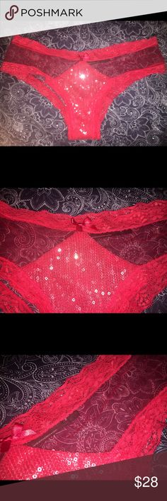 VS Limited Edition sequin cheeky panty Brand new without original tags from Victoria's Secret. This sexy panty is a size medium, red lace & sheer material with sequins. Sooo cute! Offers are welcome 😊 Victoria's Secret Intimates & Sleepwear Panties
