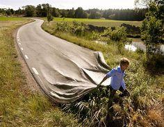 Long-road - Mind-bending car art by Erik Johansson (© Erik Johansson)