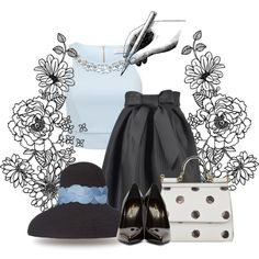 Blue Black and White by cavell on Polyvore featuring Forever New, Yves Saint Laurent and Dolce&Gabbana