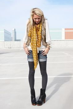I think I'm diggin' this cutoffs with tights and ankle boots look