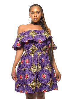 Cerena African Print Off the Shoulder Ruffle Dress (Purple/Pink)
