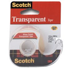 Scotch Transparent Tape, 0.5 inches X 1000 inches - 1 ea, 12 pack | Easy to handle and apply. Resists yellowing and drying out. myotcstore.com - Ezy Shopping, Low Prices & Fast Shipping.