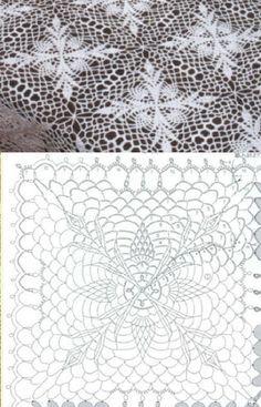 White square crochet doily - 19 inches in diameter Crochet Bedspread Pattern, Crochet Motif Patterns, Crochet Diagram, Crochet Chart, Crochet Squares, Thread Crochet, Knitting Patterns, Crochet Tree, Easter Crochet