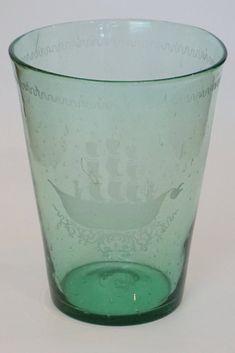 Large Antique Flip Glass Vase Victorian Design, Pint Glass, Glass Vase, Bubbles, Antiques, Tableware, Decor, Antiquities, Antique