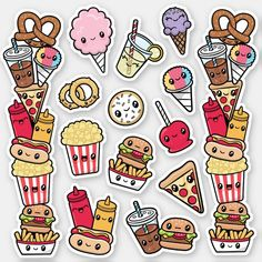 Stickers Kawaii, Food Stickers, Printable Stickers, Cute Stickers, Craft Stickers, Laptop Stickers, Planner Stickers, Doodles Kawaii, Cute Doodles