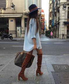 denim dress and over the knee boots for the spring transition