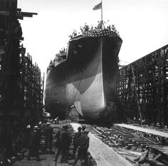 June 19, 1915: Launch of the USS Arizona at the New York Naval Shipyard in Brooklyn, New York.