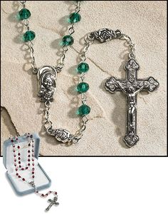 Emerald Green Irish Rosary May Birthstone