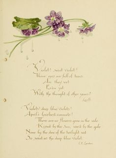 "heaveninawildflower: ""Victorian Violets. Poetry and violets. 'Deep Blue Violets' by Katherine L. Connor. Published by L. Prang & Co. Boston...."