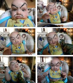Draw fake eyebrows on your baby.