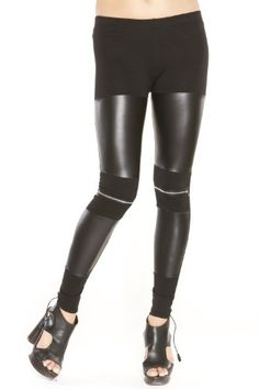 Just One Women's Vegan Faux Leather Leggings (Leather Fro...