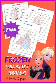 FREE Frozen Spelling Test Printables that work with all spelling lists!