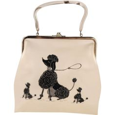 Vintage Kitschy Pearl Vinyl Purse with Clear Lucite Handle and Three Poodles on the Front