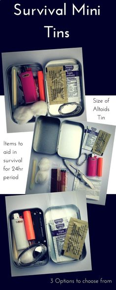 Great gifts for the men in your life! (or women, cuz Ive got one!) Buy now! 3 different survival Altoid sized tins to choose from!