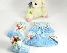 Newborn Preemie Infant Diaper Cover, Booties Set, Light Blue, White, Green, Rose - Photo Prop, Seamless Hand Knit, READY TO SHIP