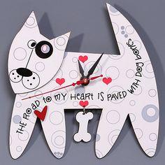 Bones Dog Clock from Liane Fried Studio on OpenSky