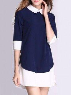 Color Block Comfortable Small Lapel Shift-dress