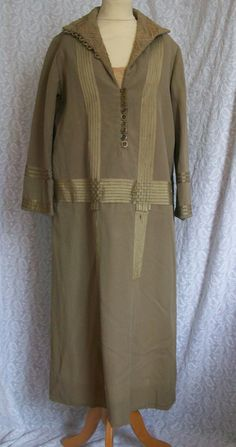 1920s brown wool day dress with ribbon detail, c. 1923. (ways to spruce up modern find)