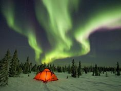 Canada Star Show...over a Camping Tent ...in the snow...in the forest