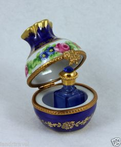 NEW AUTHENTIC FRENCH LIMOGES BOX BEAUTIFUL FLORAL CHEST W JEWELED PERFUME BOTTLE