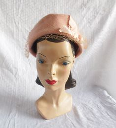 50's 60's Vintage Pink Pill Box Hat with Veil by MyVintageHatShop, $22.00