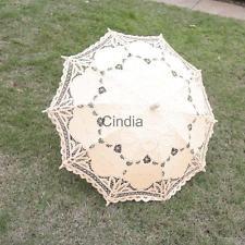 Handmade Beige Lace Cotton Wedding Umbrella Bridal Parasol Party Decoration