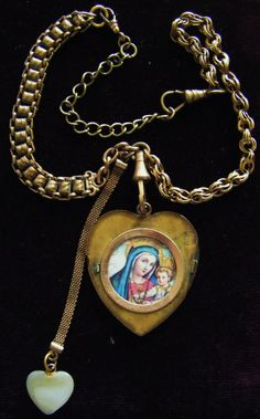 Antique Heart necklace Victorian mourning seed by madonnaenchanted, $169.00