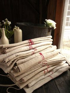 Antique French linens~available at American Home & Garden in Ventura CA  ♥♥♥