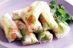 Avocado and vegetable rice-paper rolls.