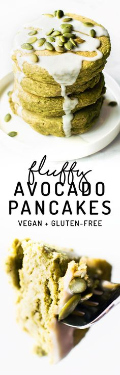 Feeling breakfast adventurous? How about Avocado Pancakes made with oat or almond flour and tons of delicious fluffy sweet flavor despite their funky color! #vegan #glutenfree #healthy via @Natalie | Feasting on Fruit