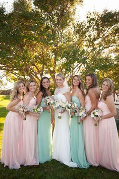 Romantic Fall Kennebunkport Wedding Mint Green Bridesmaids, Pastel Bridesmaid Dresses, Beautiful Bridesmaid Dresses, Wedding Bridesmaids, Pastel Gowns, Teal Dresses, Wedding Dresses, Blush Wedding Colors, Wedding Mint Green