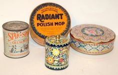 Vintage product tin collection.