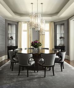 Lichten Craig Design. Gorgeous monochromatic dining room with just the right amount of crystal...